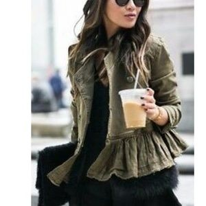 Free people double breasted military peplum jacket